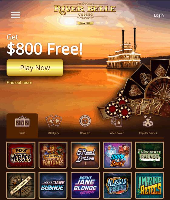 RiverBelleCasino - 800 Free Bonus Money